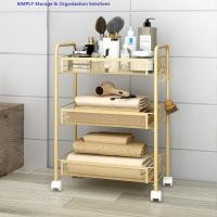 Golden Kitchen Basket Movable Cart Home Wire Shelving Mobile Simple Assembly