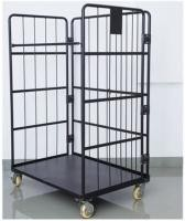 Black Electro Galvanized Wire Utility Cart For Factory Auto Parts