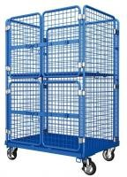Blue Powder Coating Foldable Wire Utility Cart With Door Easy To Move