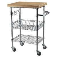 Chrome Finish Kitchen Wire Utility Cart With Wheels Multifunctional