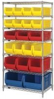 Dry / Wet Environment Metal Wire Shelving With 20 Plastic Bins Silver Rack