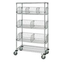 Adjustable Chrome Storage Rack With Wheels , 4 Shelf Wire Shelving With Dividers