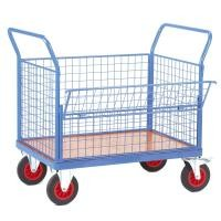 2 Handles Light Blue Wire Mesh Cart With Swivel Castors For Factory