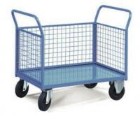 Two Handles 3 Mesh Sides Food Store Trolley For Industrial Warehouse