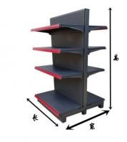 Steel Four Levels Grocery Store / Supermarket Display Racks Black Mix Red Color