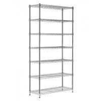 7 Tiers Industrial Chrome Plated Stackable Wire Shelving Units , 14 Inch Deep