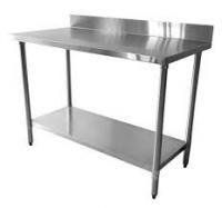 Environmental Commercial Stainless Steel Table With Splashback For Canteen