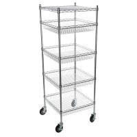 5 Layers Mobile Metal Wire Rack Basket Shelving Unit Chrome Surface Finish