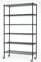 6 Tier Adjustable Metal Wire Shelving For Convenience Stores / Black Wire Rack