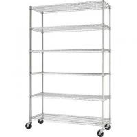 Easy Cleaning Commercial Wire Shelving 6 Tier Standing Organizer With Wheels