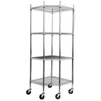4 - Layers Silver Stainless Steel Shelving Units On Wheels Resist Corrosion
