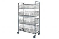 Vegetable Mobile Commercial Wire Shelving Storage Rack With 4 Shelf Baskets