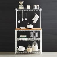 Baker's Wire Metal Shelving Rack White Powder Coating Steel With Wooden Shelf
