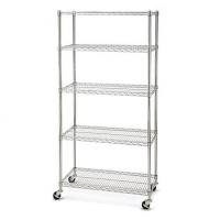 3 Inch Height 5 Layers Garage Storage Racking Home Wire Shelving With Wheels