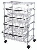 SS304 Wire Utility Cart With 4 Adjustable Drawers & Wheels for Easier Mobility