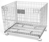 Big Collapsible Wire Container With Castors , U Shape Foot Stackable Metal