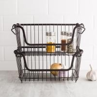 Brown Pantry Stackable Colored Wire Storage Baskets Saving Space Under Sink