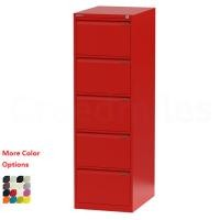 Red Lockable Metal Filing Cabinet Four Drawer Lateral File Cabinets For Office