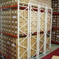 Four Rows Cold Steel Storage Shelving Racks For Factory Warehouse