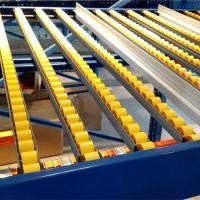 Space Saving Wheel Type Flow Rack System In Yellow Color For Hardware Industry