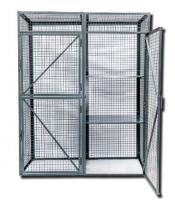 Black Metal Wire Utility Cart Lockable Mesh Security Truck Double Doors For