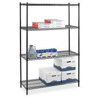Four - Tier Commercial Wire Shelving , Flat Black Adjustable Saferacks