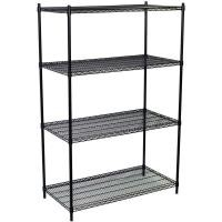 Grocery Store Heavy Duty Commercial Wire Shelving 4 Layers Black Epoxy Surface