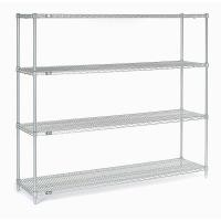 Retail Store Storage Metal Wire Shelving , Four Tier Standing Display Rack With