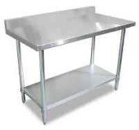 Silver Color Metal Work Table With Splashback One - Piece Structure Corrosion