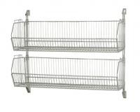Stackable Wire Grid Baskets , Chrome Plate Wall Mount Wire Mesh Basket