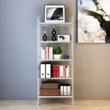 Library Room White Home Wire Shelving , Adjustable Five Shelf Storage Rack