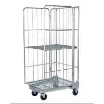 Industrial Wire Utility Cart , Full Security 3 Sides Roll Cage Trolley For