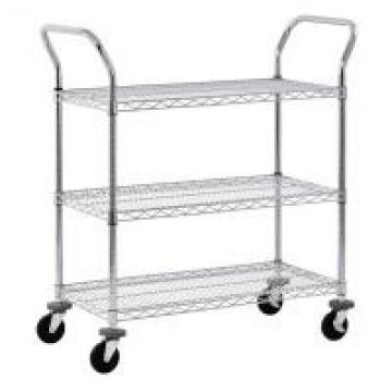 """Adjustable Wire Shelf Cart With Pull Handle Restaurant 36"""" W X 14"""" D X 38"""" H"""