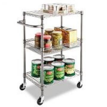 """3 - Tier Wire Rolling Cart / Food Chrome Steel Utility Cart 24""""W X 14""""D X 36""""H"""