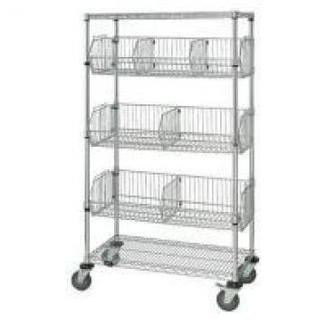 Mobile Chrome Wire Grid Baskets Shelving 4 Layers For Medical Supply Storage