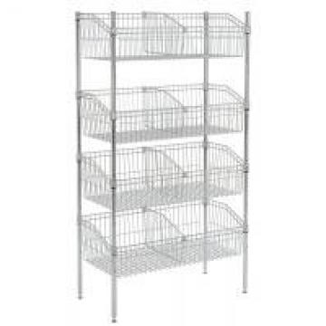 Silver Chrome Finish Wire Grid Baskets Shelving 8 - Basket Shelving Unit