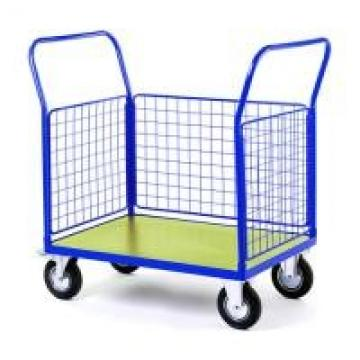 Steel Wire Shipping Containers Trolley For Supermarket Medium Duty