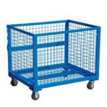 Collapsible Transship Metal Pallet Box With Wheels For Warehouse