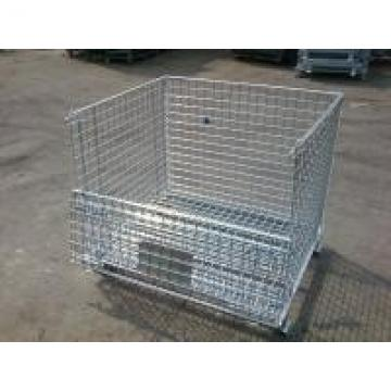 Galvanized Metal Folding Wire Container For Spare Parts Storage 50x100mm