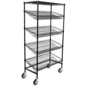 """18"""" Deep X 36"""" Wide X 72"""" High 5 Tier Slanted Wire Shelving Black Epoxy Surface"""