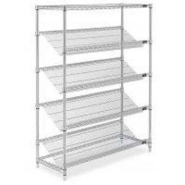 Goods Display Slanted Wire Shelving Units , 5 Tier Chrome Plated Steel Rack