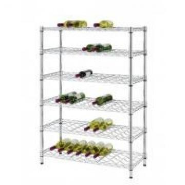 6 Layer Angled Shelf Unit Metal Wire Wine Rack Shelving 60 Bottles 18 Inches