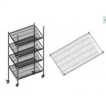 Chrome Slanted Wire Shelving For Warehouse With 5 Inch Polyurethane Casters