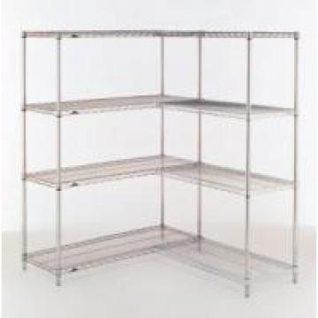 Heavy Duty Industrial Wire Mesh Shelving , Chrome Storage Shelves With Wheels