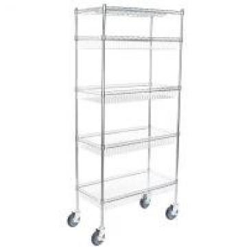 5 Tier Baskets Shelving Units Mobile Metal Wire Rack Grocery Display