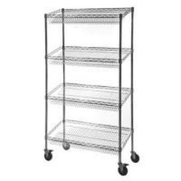 Retail Storage Systems 4 - Tier Slanted Wire Shelving Suture Cart Chrome Finish
