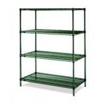 "18""D Green Epoxy Commercial Wire Shelving Rack For High Moisture Wet Environment"