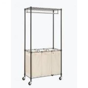 Rolling Garment Home Wire Shelving , Wire Laundry Shelf With Changeable Fabric