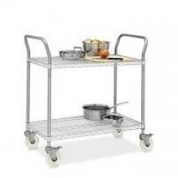 """Restaurant Wire Utility Cart , 2 - Layer Wire Mesh Rolling Cart 30""""W X 14""""D X 38"""