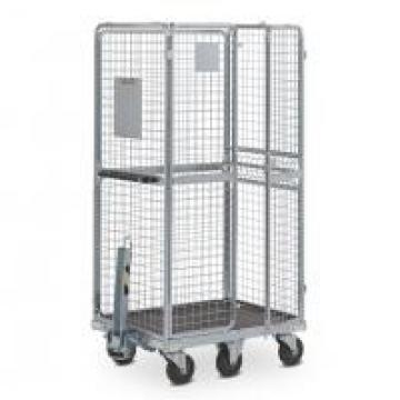 Warehouse Galvanized Foldable Wire Mesh Roll Container / Material Handling